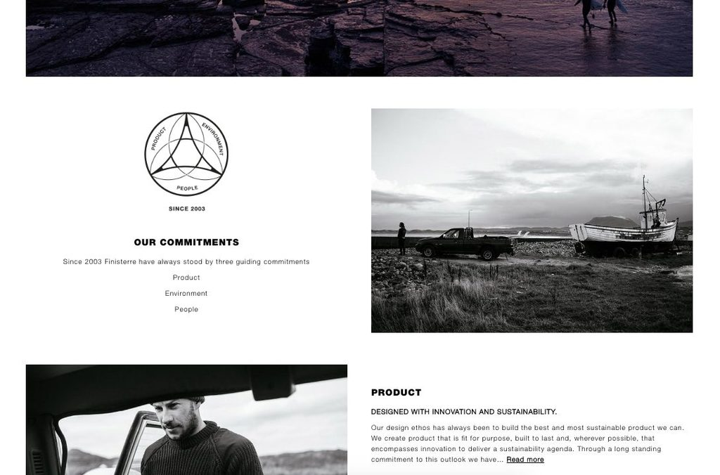 Finisterre highlight their commitment to sustainability throughout their marketing channels and their website.