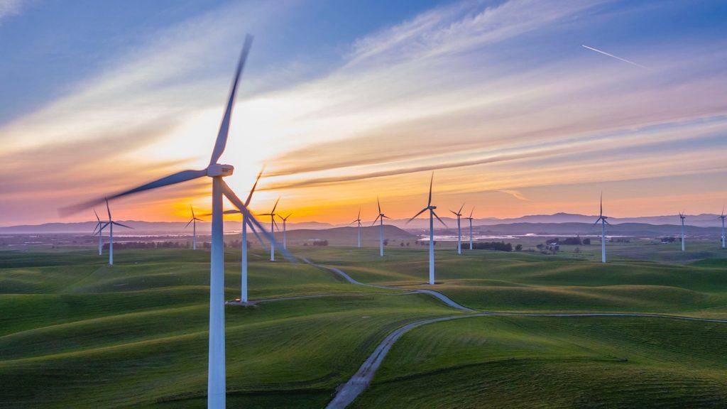 Renewable energy body image 5 - wind power farm at sunset