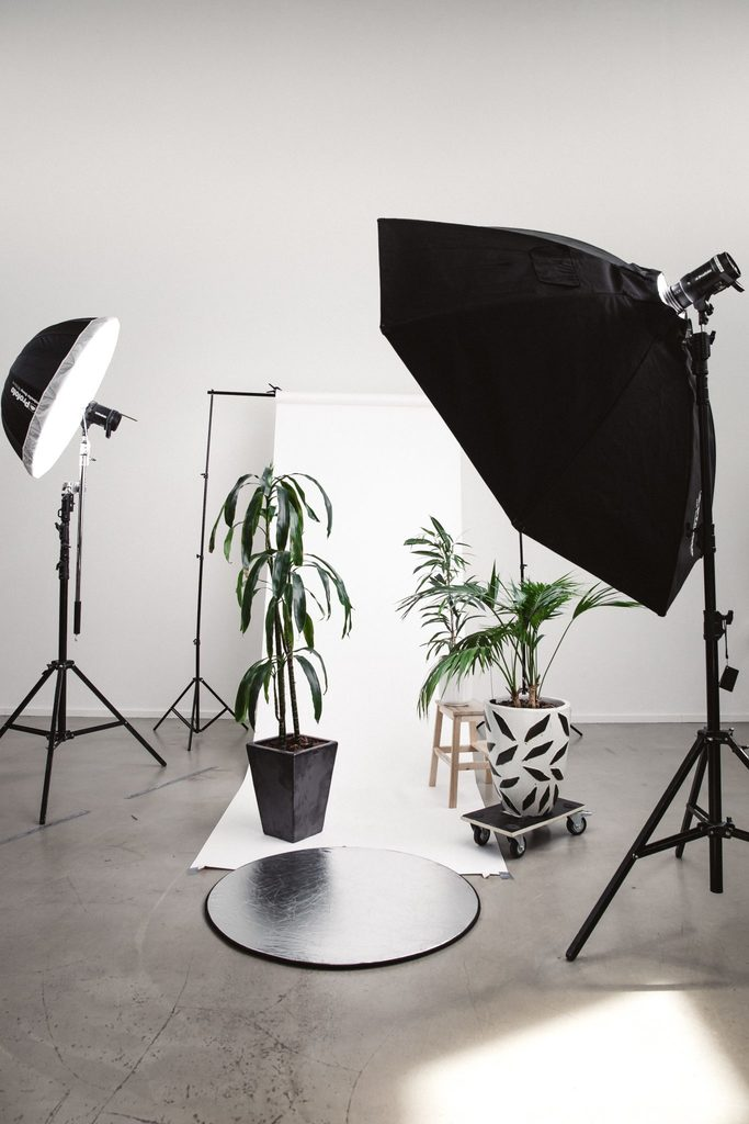 sustainable marketing plan body image 1 - photography setup with plants and lights