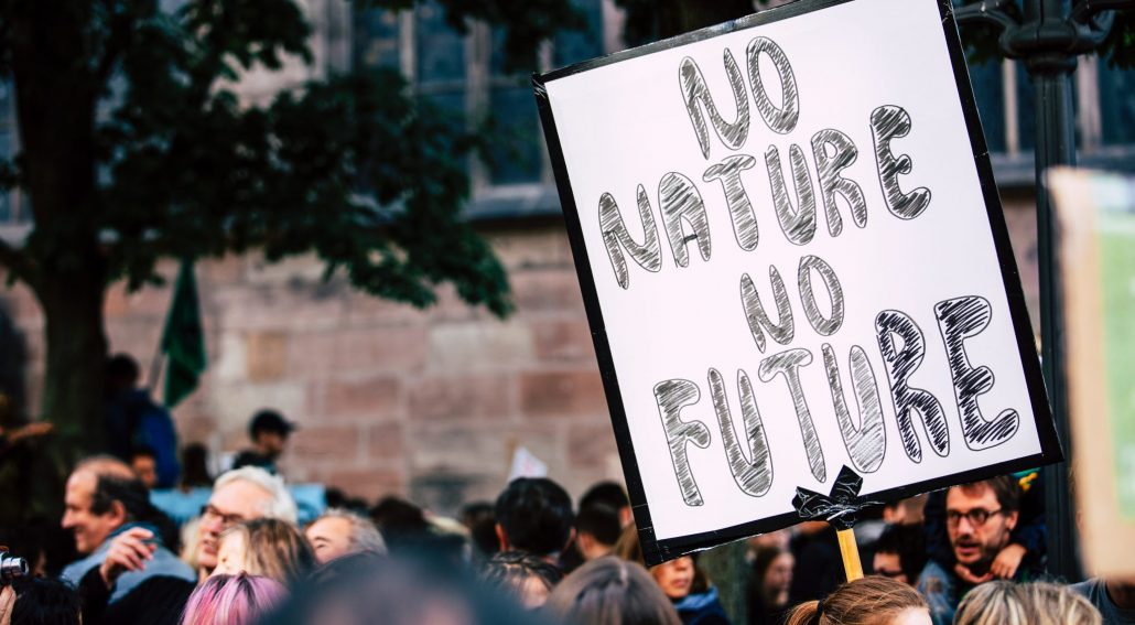 climate crisis heading image - no nature no future sign being held at rally
