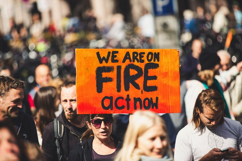 climate protest highlighting the wildfires in Australia