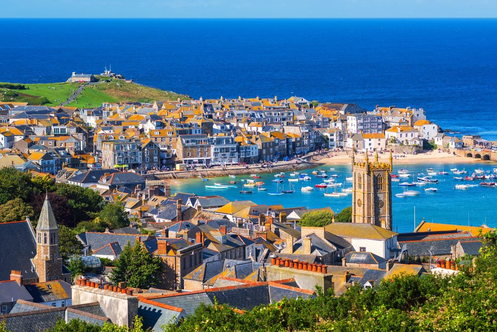 Cornish town filled with businesses, homes and multiple industries all set in a beautiful coastal environment