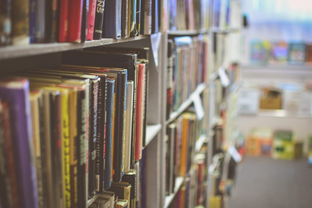 A row of books in a library or other similar education centre