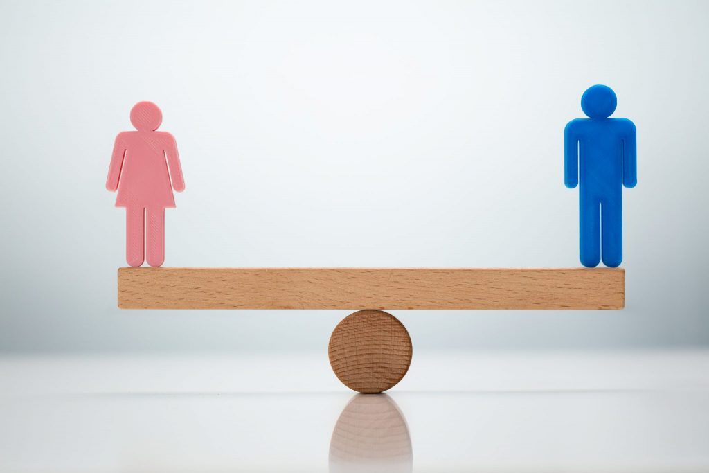 An image of balance between genders for equality