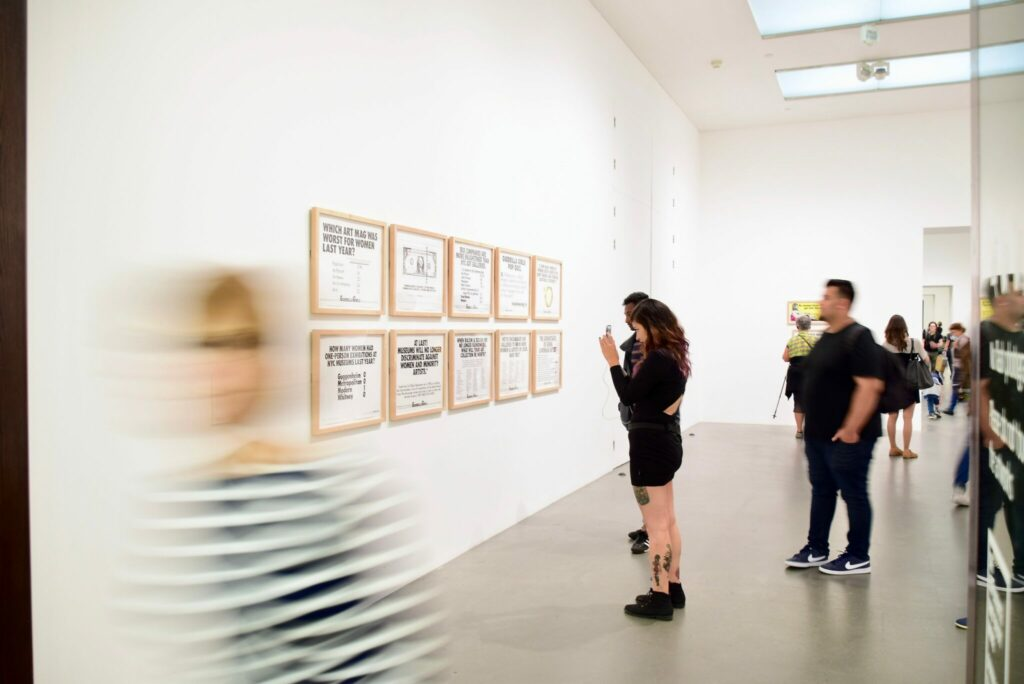 People visiting an exhibition on health and wellbeing
